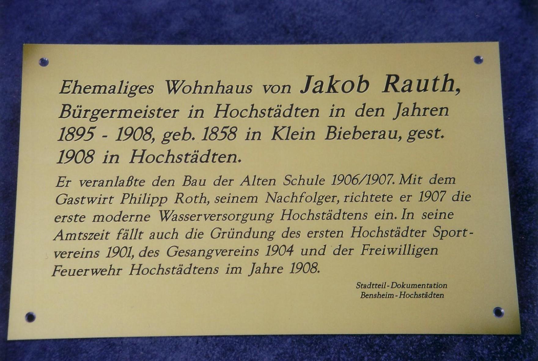 De Hochstädter Neues und Wissenswertes aus Hochstädten Wer war Jakob Rauth