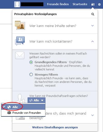 Social Privacy Checklist 2013 Der Kommunikative Wer kann mir Freundschaftsanfragen schicken?