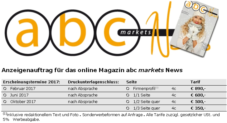 abc markets News 2/2017 Vorschau und Anzeigenschaltung