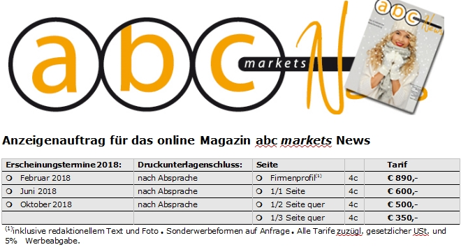 abc markets News 2/2018 Vorschau und Anzeigenschaltung