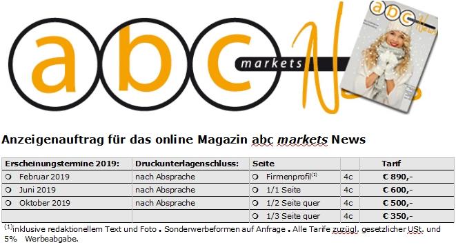 abc markets News 1/2019 Vorschau und Anzeigenschaltung